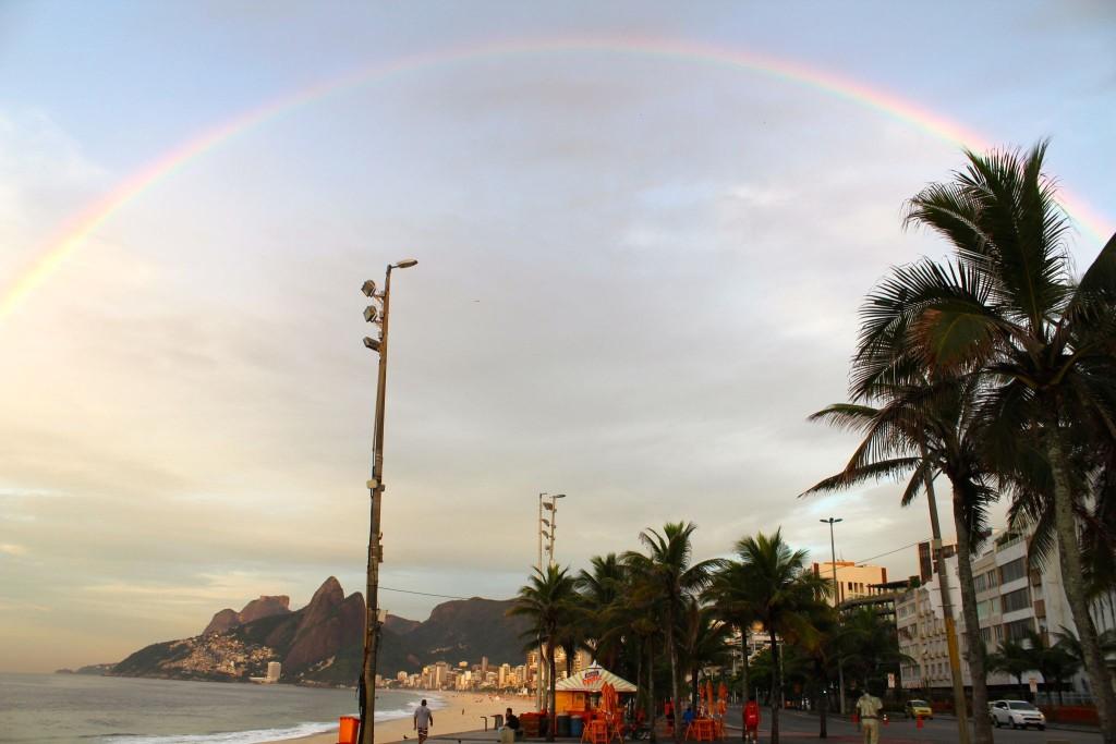 Rainbow over Rio before flight.